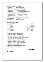 ESL kids worksheets: some/any