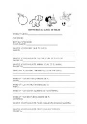 English Worksheets: activity for introducing