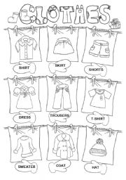 English Worksheets: Clothes pictionary