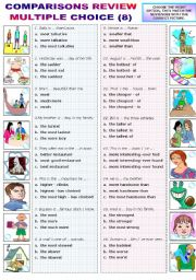 English Worksheet: COMPARATIVES AND SUPERLATIVES - REVIEW - MULTIPLE CHOICE (8)
