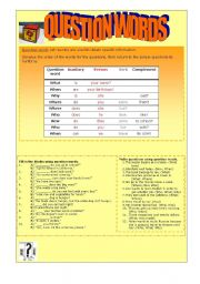English Worksheets: QUESTION WORDS - WH QUESTIONS