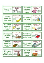 English Worksheets: Price domino 1-2