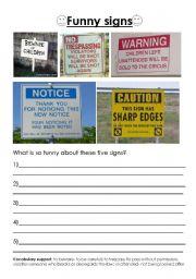 English Worksheets: Funny signs
