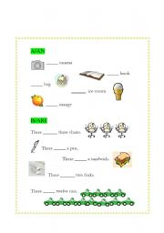 English worksheet: a/an, is/are worksheet