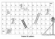 English Worksheet: Board Game - Snakes & Ladders - with English Game Questions and instructions