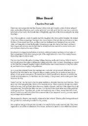 English Worksheets: Blue Beard Reading & Writing Activity