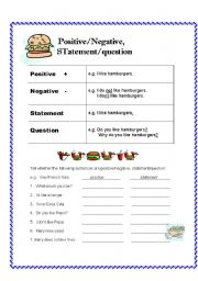 English worksheet: Positive/Negative, Statement/Question