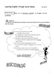 English Worksheets: learning English through social issues 3