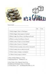 English Worksheets: It�s a Gamble!