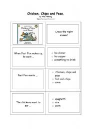 English Worksheets: Chicken, Chips and Peas, by Allan Ahlberg