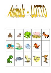 English Worksheets: Playing lotto with animals