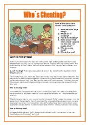 English Worksheets: Who is Cheating? Reading, Speaking and Writing