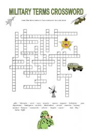 English Worksheets: military terms crossword