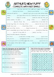 Arthur´s new puppy- Complete with Past Simple - ESL worksheet by ...