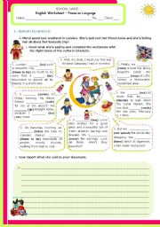 English Worksheets: Verb tenses and reported speech - Upper Intermediate and Adnanced students