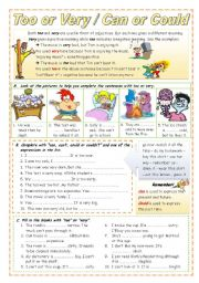 English Worksheet: Too or Very / Can or Could