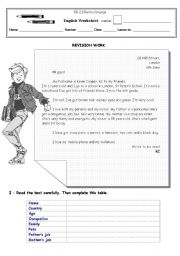 English Worksheets: Revision work