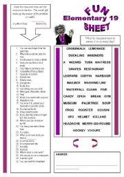 English Worksheets: Fun Sheet Elementary 19