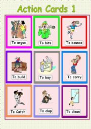 English Worksheets: Action Cards 1
