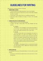 English Worksheets: Guidelines for Writing