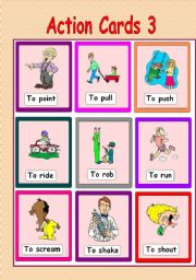 English Worksheets: Action Cards 3