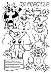 English Worksheets: My animals I