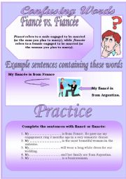 English Worksheet: Confusing Words (4)...fianc� vs. fianc�e...There are many grammatical errors that we, as  teachers see every day. If you really want to improve your students English, this is the perfect set for you ;)