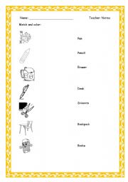 English Worksheets: Objects scholl