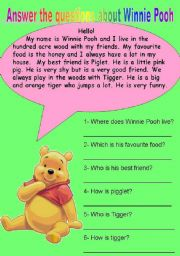 English Worksheets: Reading comprehension about Winnie Pooh