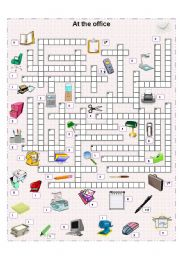 English Worksheet: At the office crossword