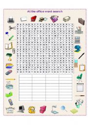 English Worksheet: At the office word search