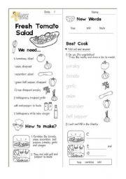 English Worksheet: Fresh Tomato Salad(Cooking)