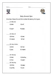 English Worksheet: baby animals