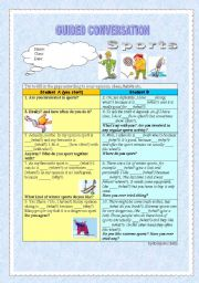 English Worksheet: Guided Conversation - Sports