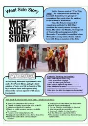 English Worksheets: West Side Story�s song America - 3 pages