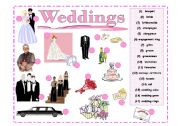 English Worksheet: *Weddings | Activity 1*  Wedding Vocabulary Pictionary