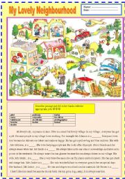 English Worksheet: _2 pages_ MY LOVELY NEIGHBOURHOOD [jobs and simple present tense]