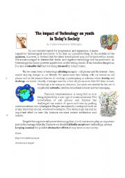 English Worksheet: the impact of new technologies on today�s youth