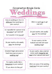 English Worksheet: *Weddings | Activity 2*  Mingle: Conversation Starter Cards [3 pages, instructions included]