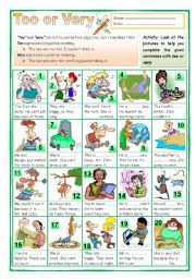 English Worksheets: Too or Very