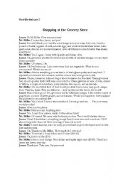 English Worksheet: Real Life Dialogue 2-Shopping at the Grocery Store