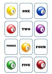 English worksheet: Number memory game (1-10)