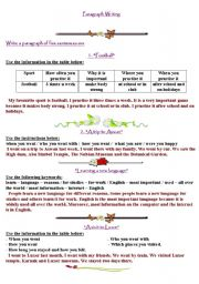 English Worksheets: aragraph writing