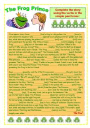 English Worksheet: Simple Past Tense- Story: The Frog Prince