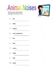English Worksheets: Animal Noises! Have fun!