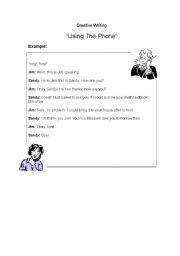 English worksheets: Creative Writing: Telephone Conversations