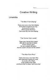 English Worksheet: Creative Writing: Limericks