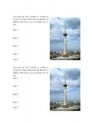 English Worksheet: Itinerary for a pen pal visiting Korea