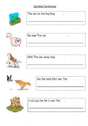 English Worksheets: Easy Jumbled Sentences