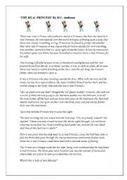 English Worksheets: �The Real Princess� by H.C. Andersen